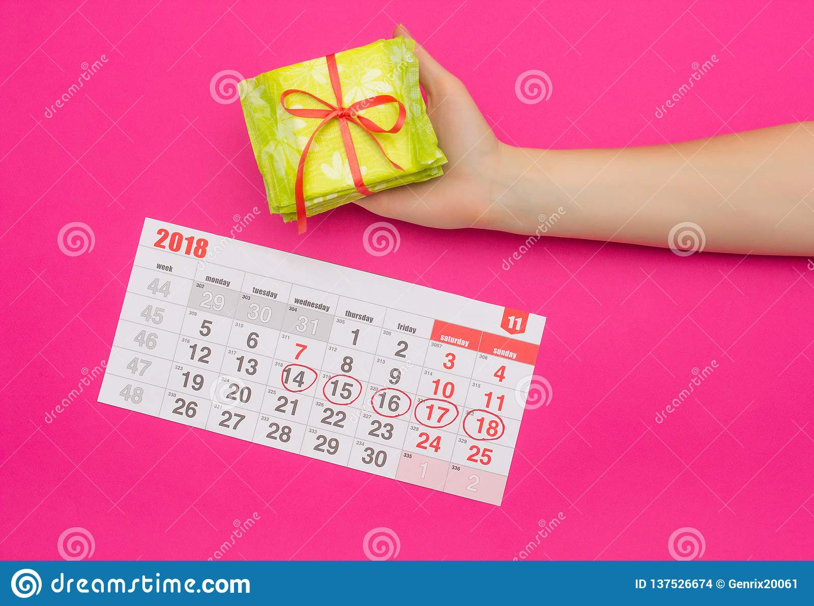 Calendar with marked days of menstruation in a girl, female hand with a stack of sanitary pads, pink background, period, pms