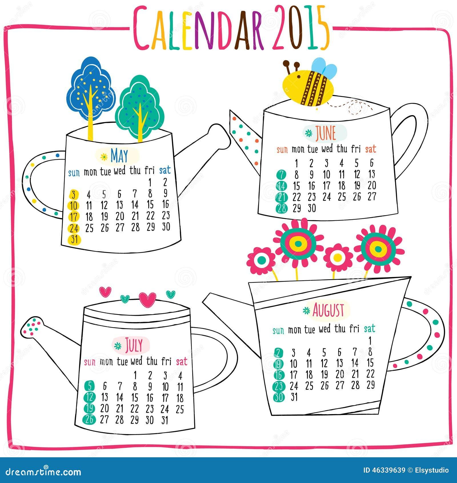 Calendar 2015-May, Jun, July, August Stock Illustration - Image ...