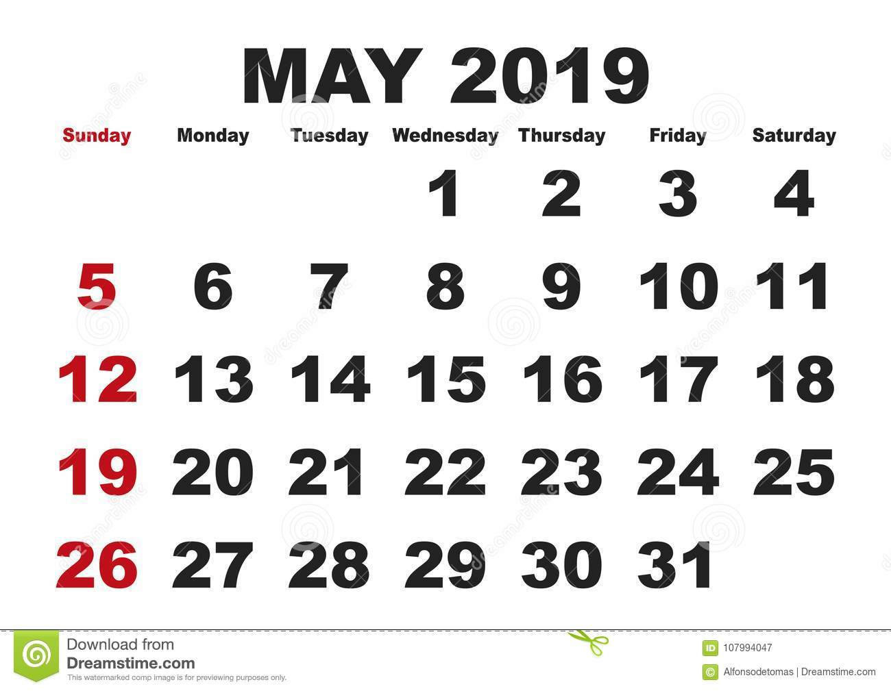 May Month Calendar 2019 English Usa Stock Vector Illustration Of