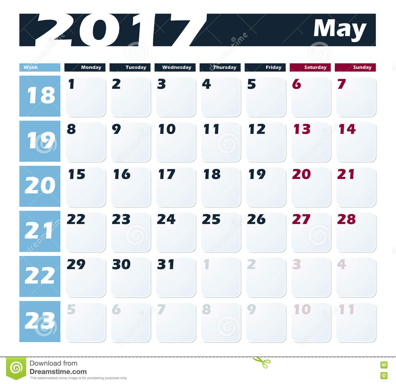 Xs Calendar May : Calendar may vector design template week starts with