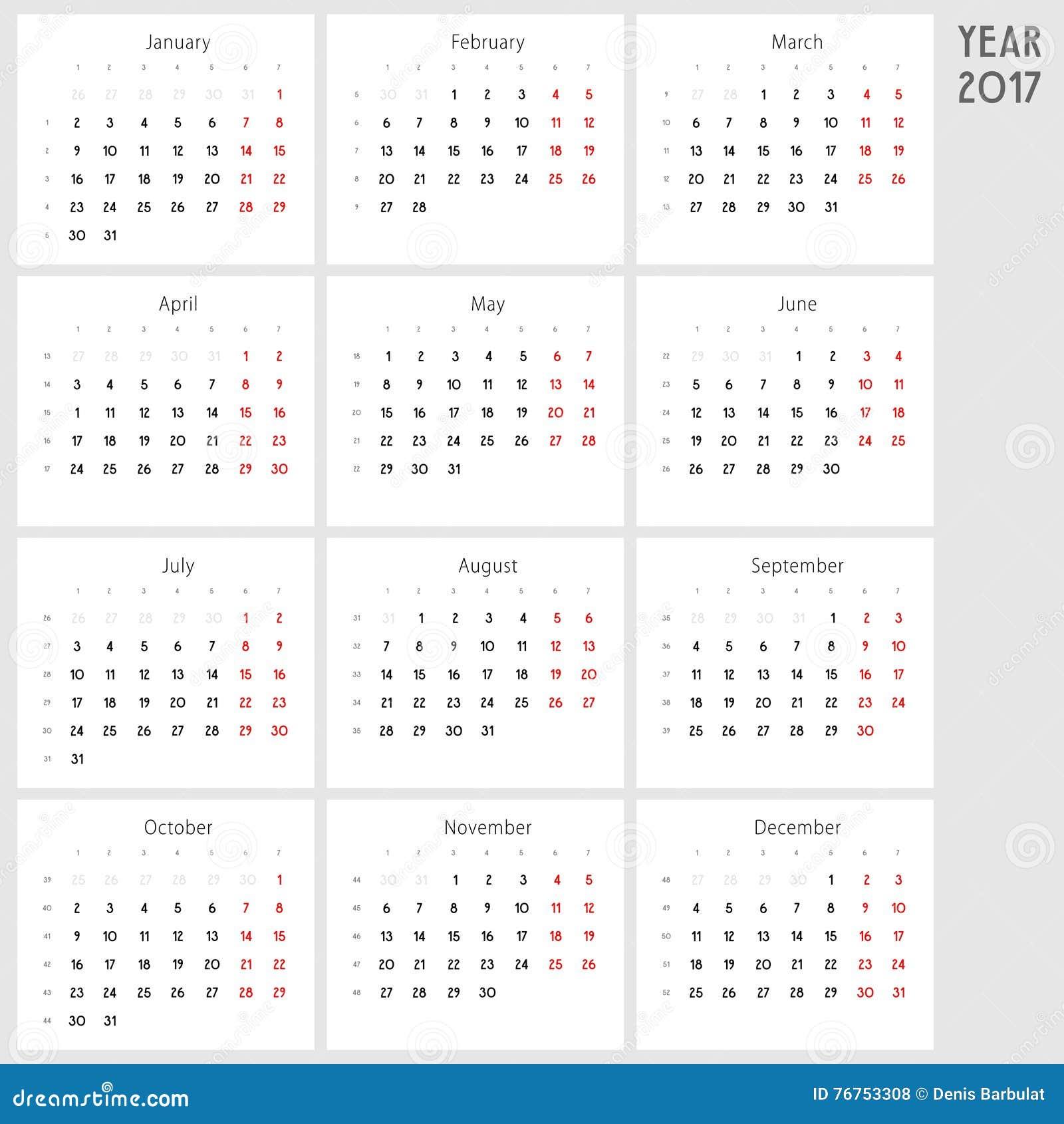 Calendario Fit.Calendar 2017 Monday To Sunday Stock Vector Illustration