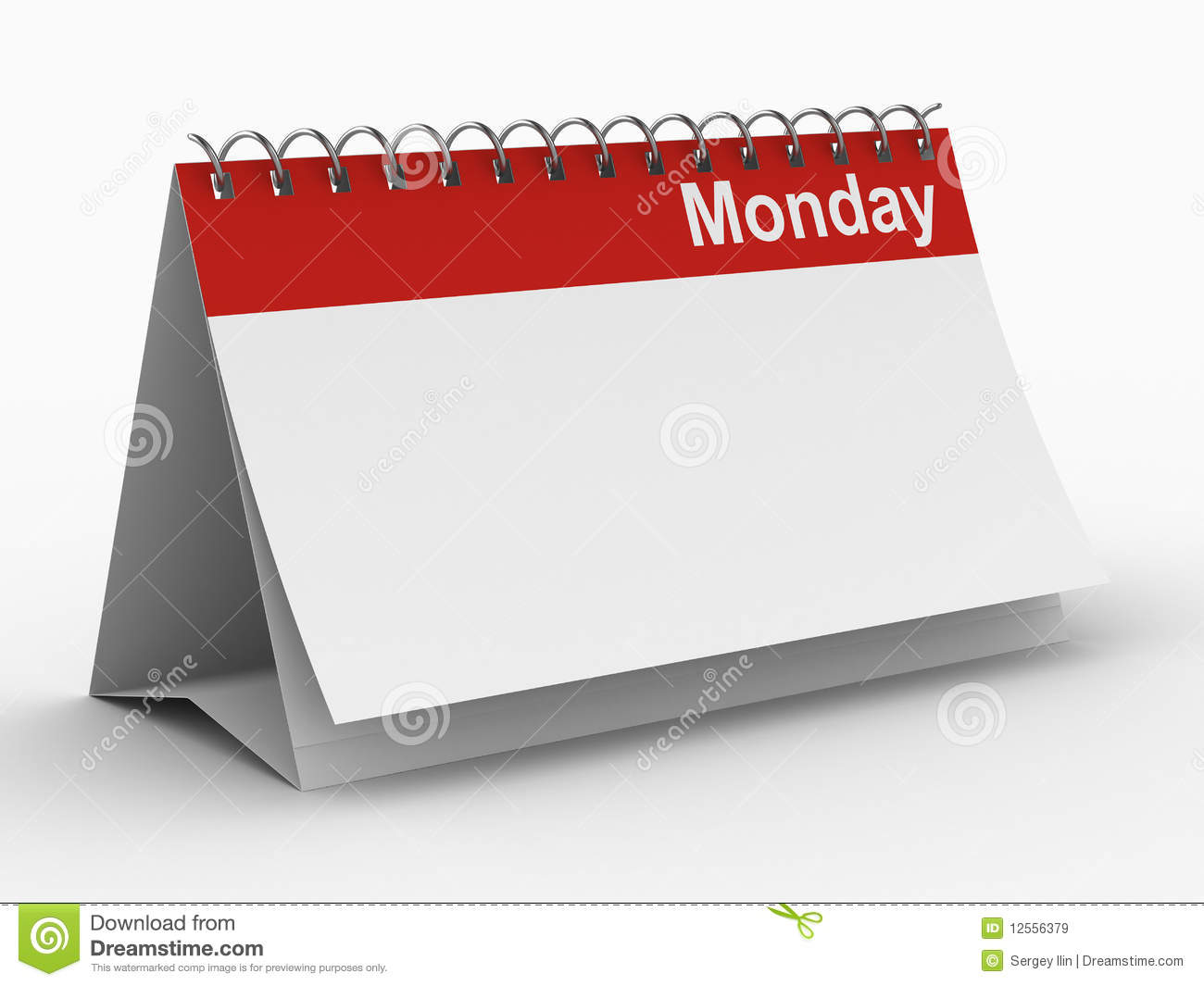 Calendar For Monday On White Background Royalty Free Stock Images ...