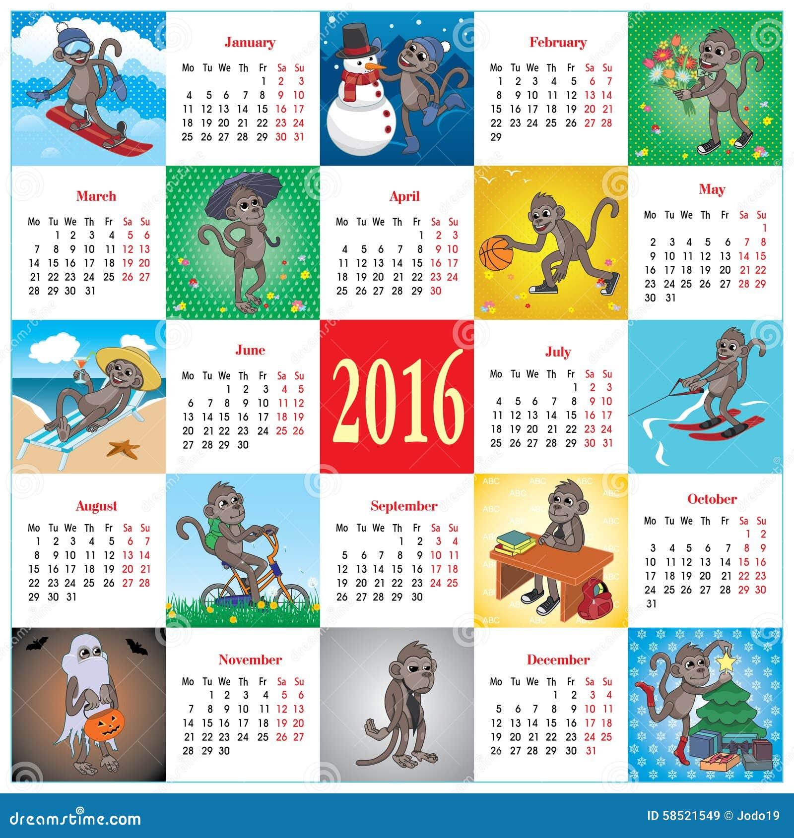Home Design Editorial Calendar 2016: Calendar 2016 With Monkeys Stock Illustration