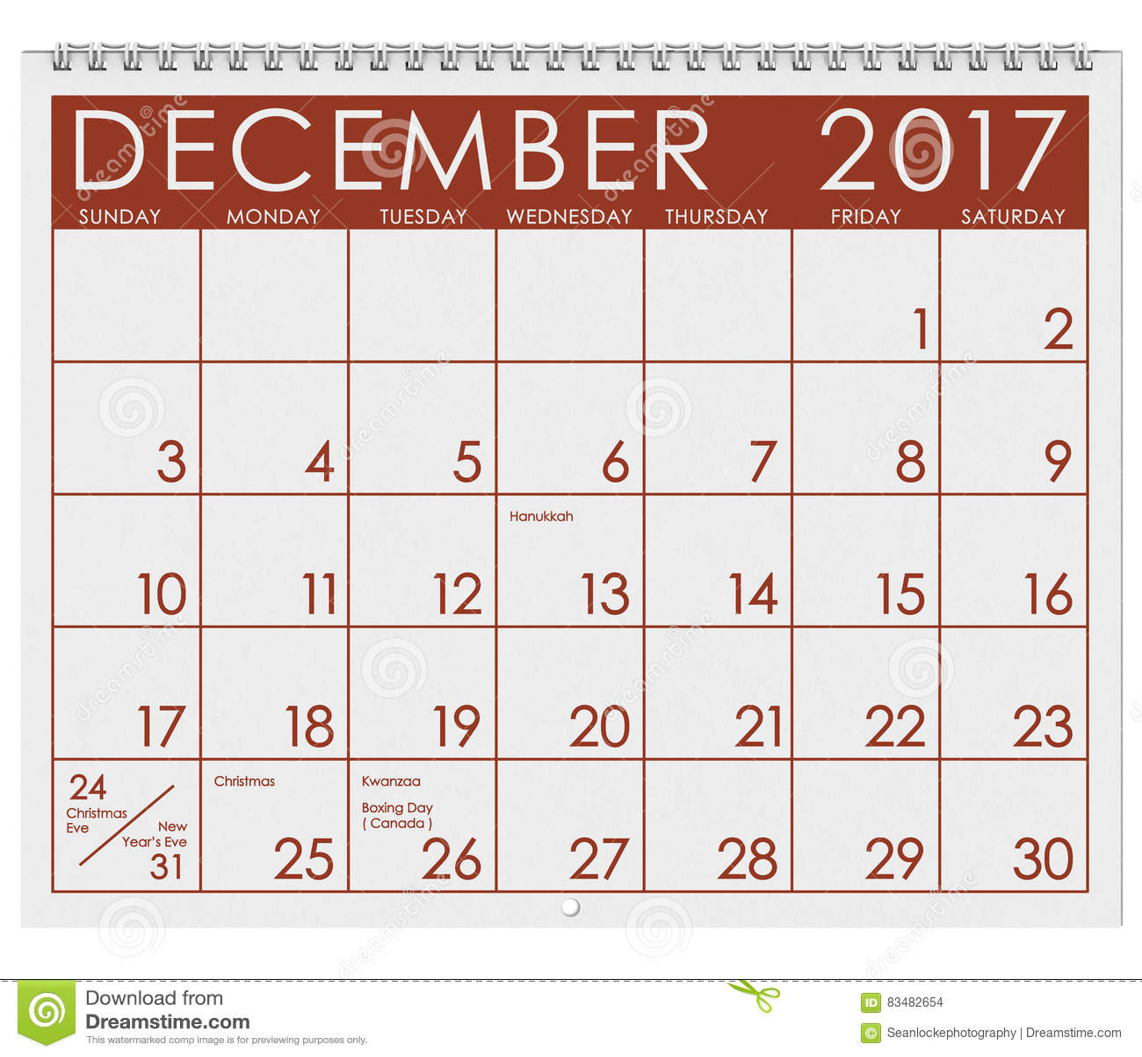 Christmas Calendar 2017 : Calendar month of december with christmas holiday