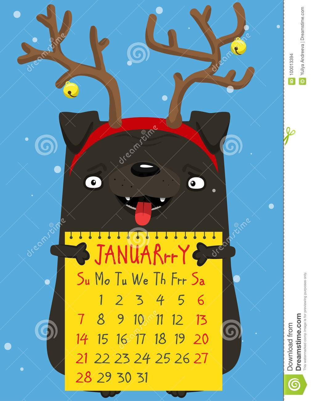 Calendar Month January 2018 A Cute New Year Pug Stock Illustration