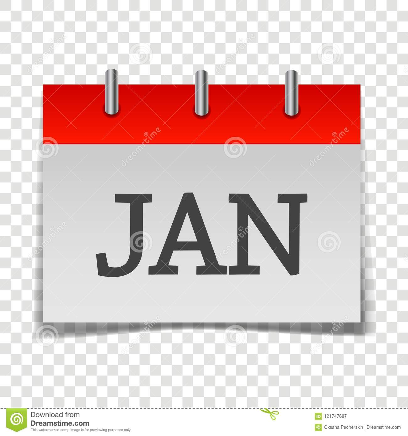 Calendar Month January Icon On Grey And Red Color On Transpar Stock ...