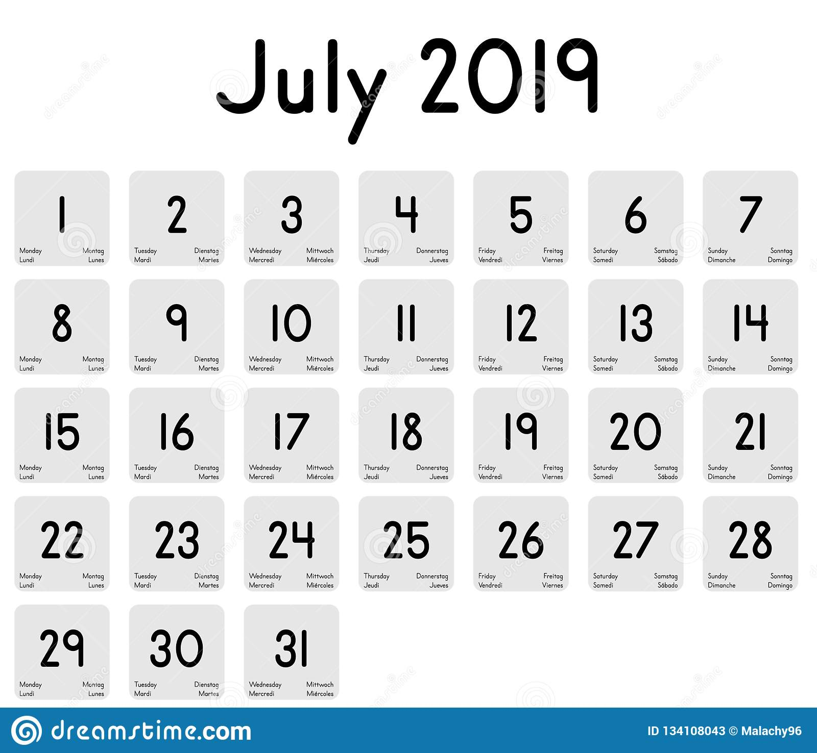 Calendario Julio 2019 Vector.Calendar Of The Month Of July 2019 Stock Vector