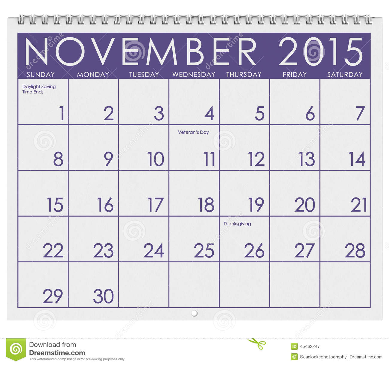 2015 Calendar: Month Of November Stock Illustration - Image: 45462247