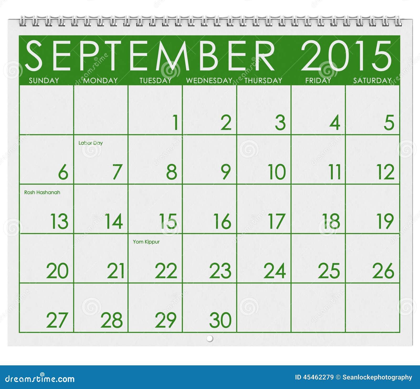 2015 calendar month of september stock illustration illustration