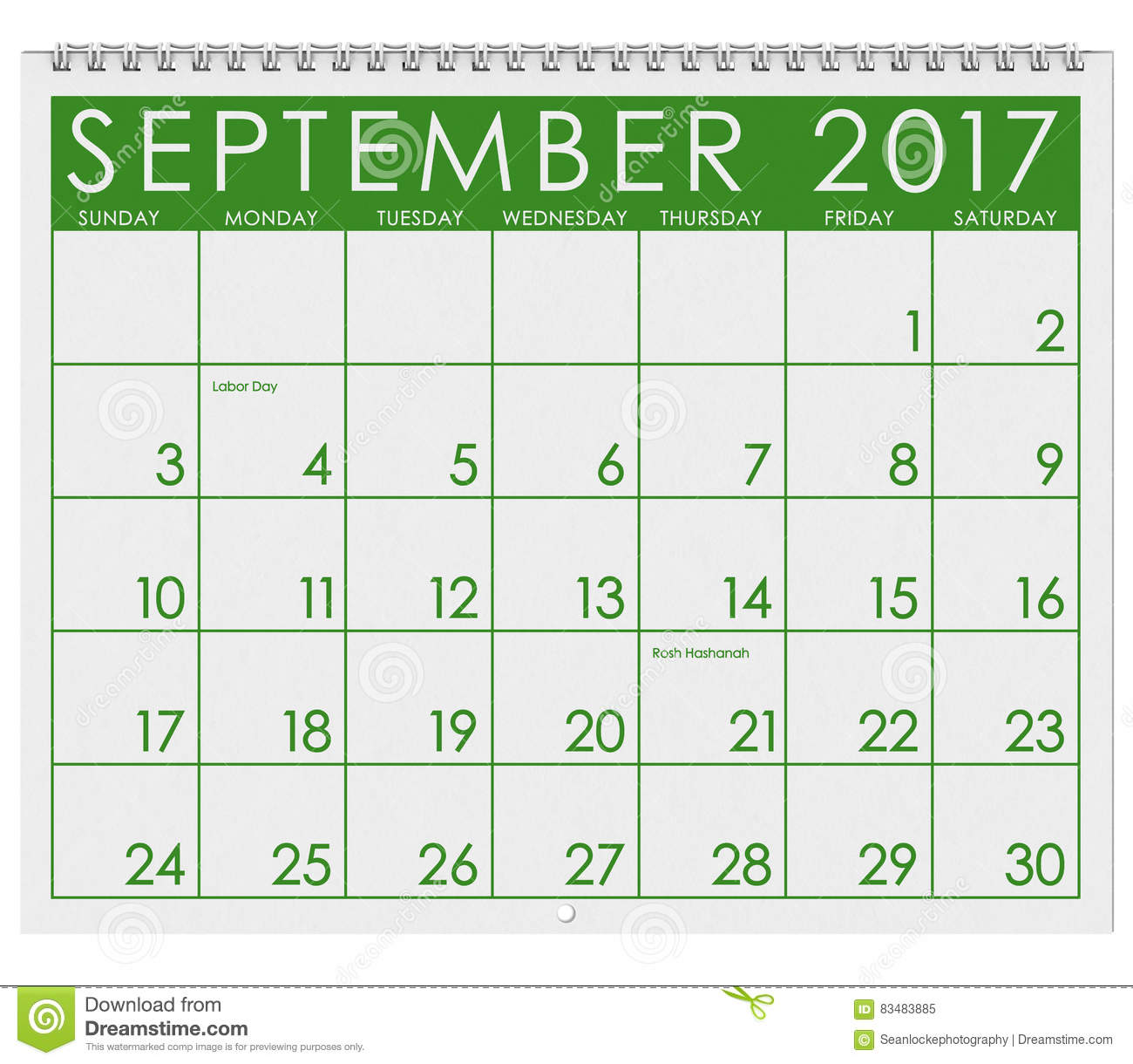 2017  calendar  month of september with labor day stock