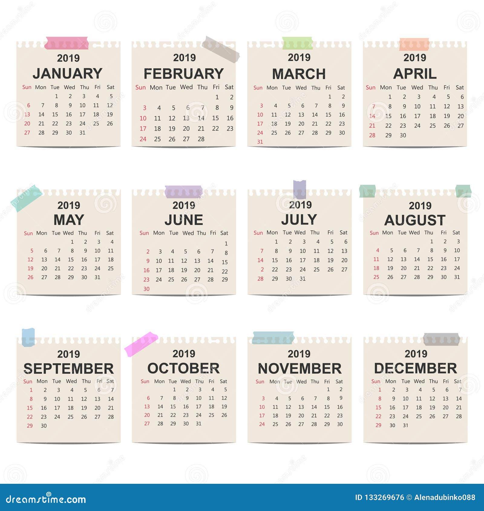 Calendar 2019 Monthly Calendar Template On Old Paper Week Starts