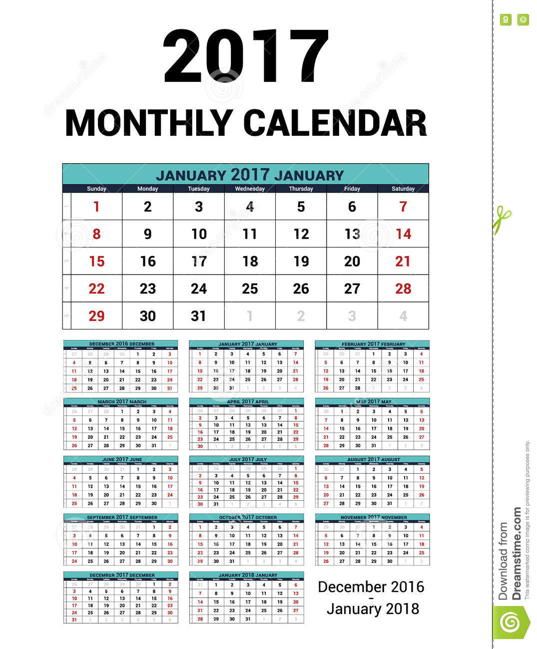 December 2016 January 2017 Kitchen Of The Month: Calendar Monthly For 2017 Year. Vector Stationery Design