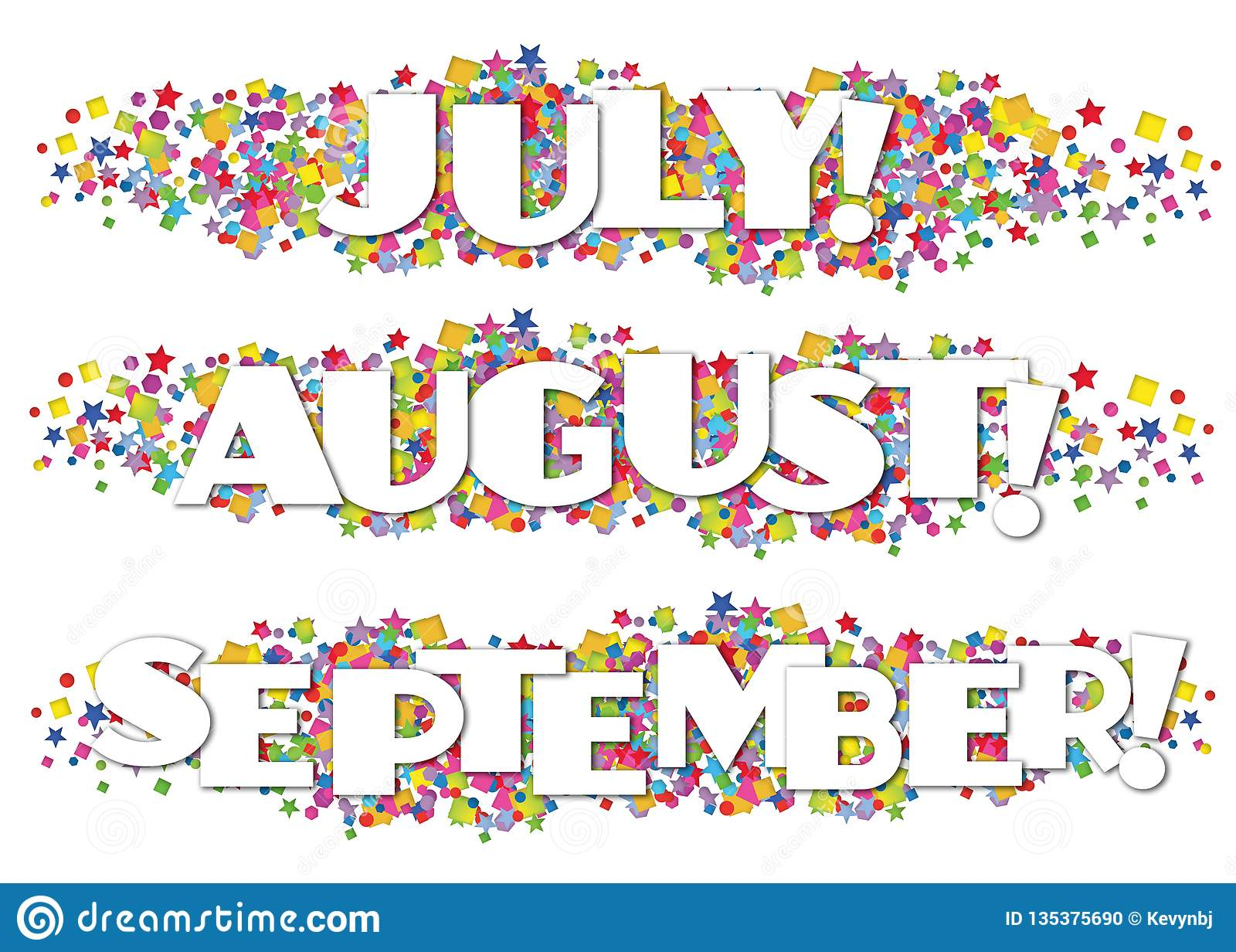 Calendar Months Newsletter Decorative July August September