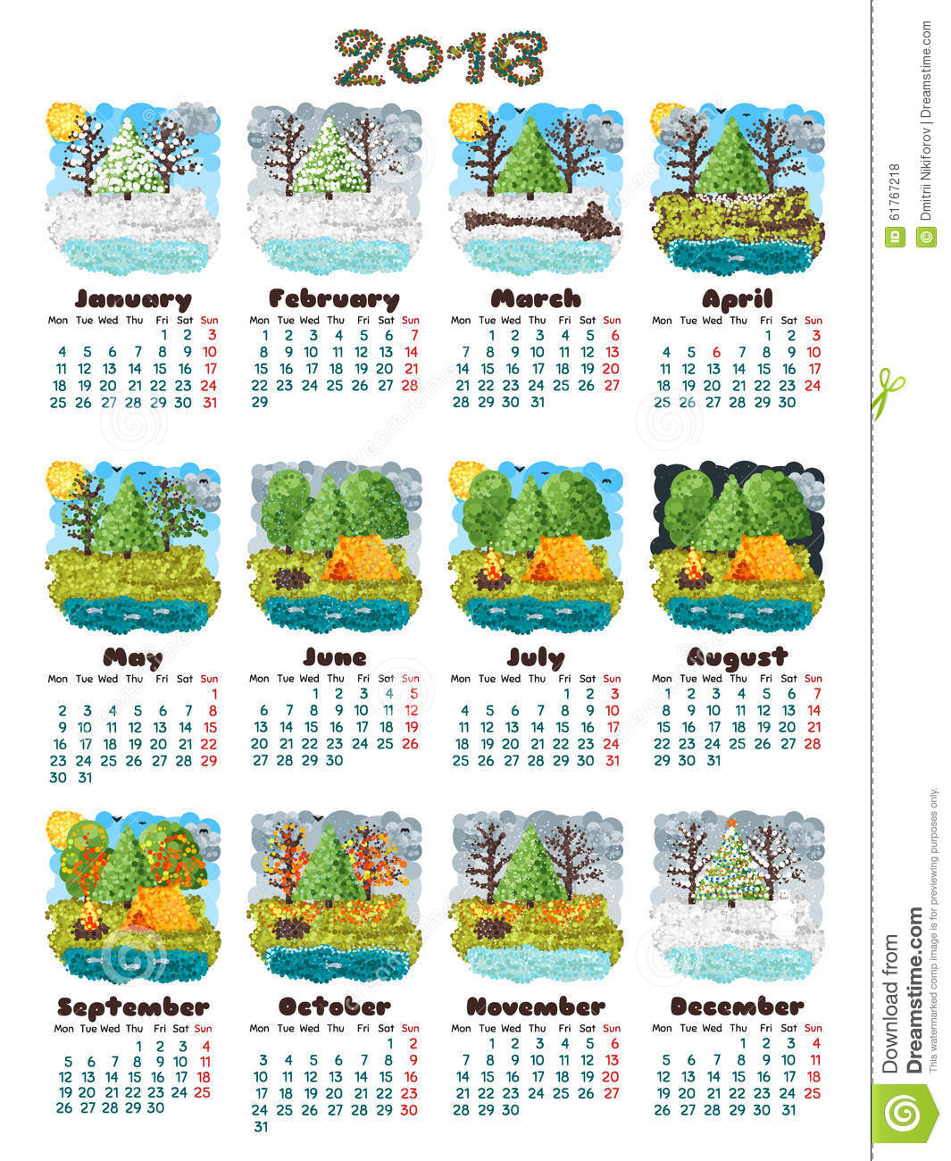 Calendar 2016 nature stock vector illustration of business 61767218 calendar 2016 nature reheart Image collections