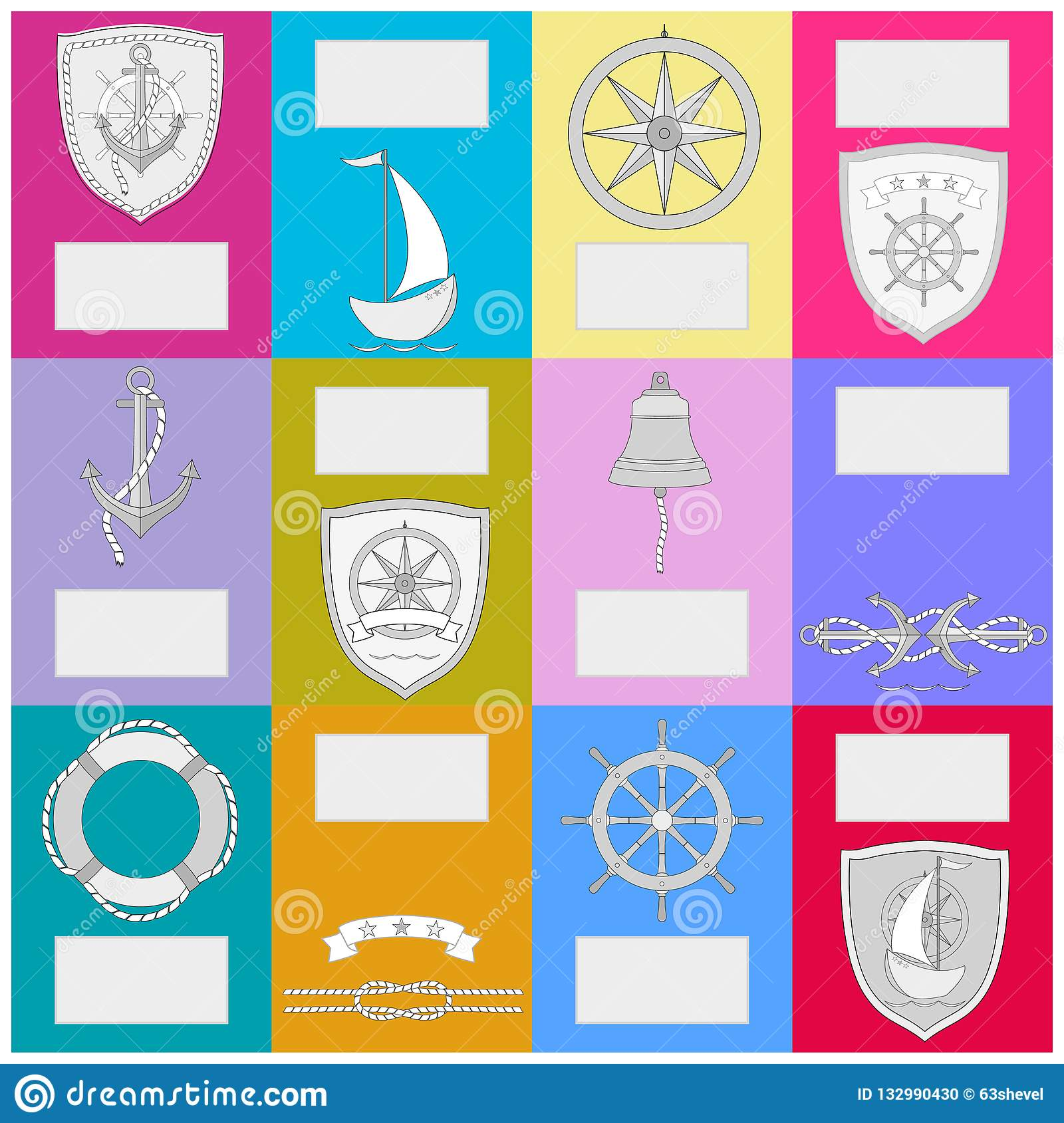 Calendar with nautical symbols. New Year banner .
