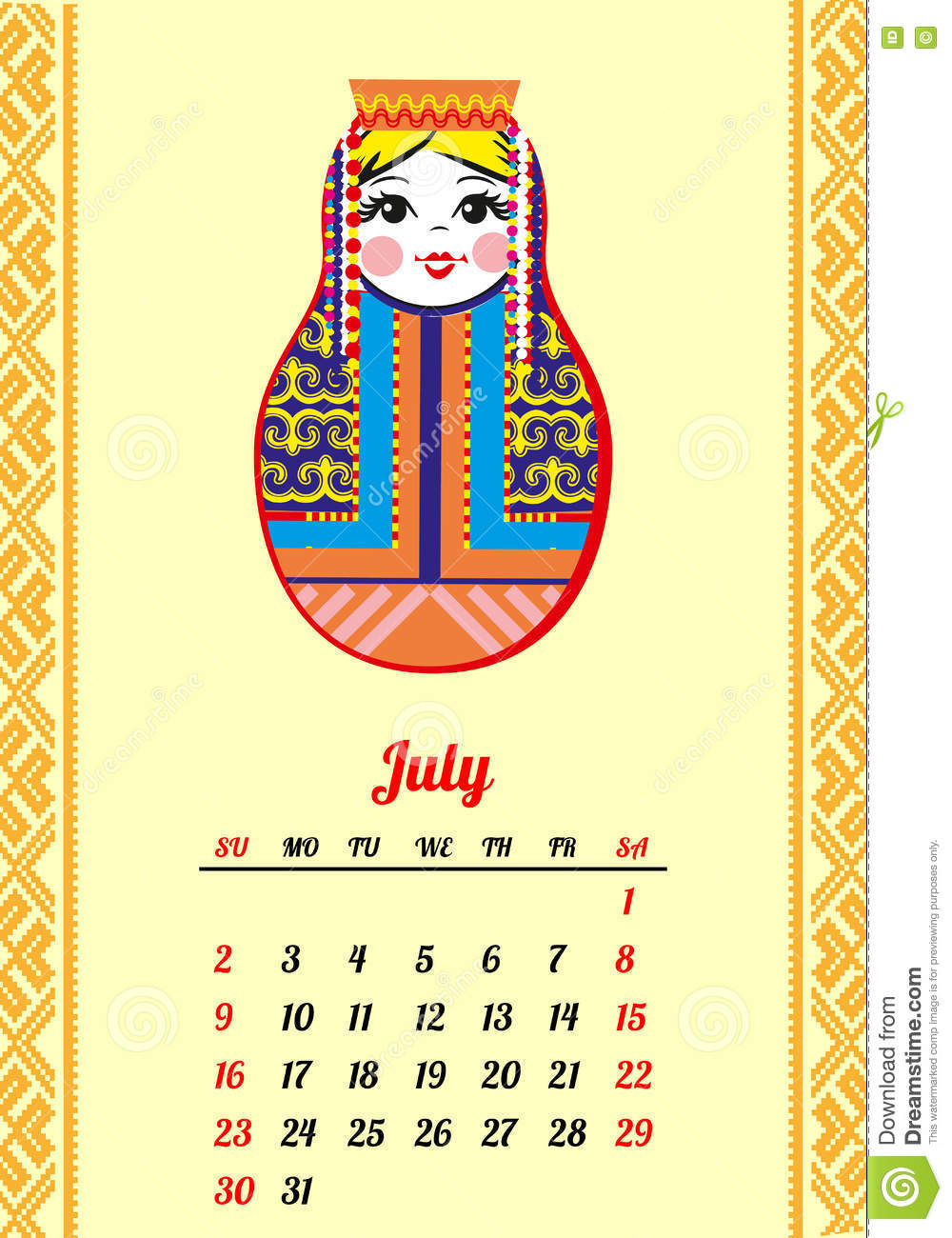 calendar with nested dolls 2017 matryoshka different russian