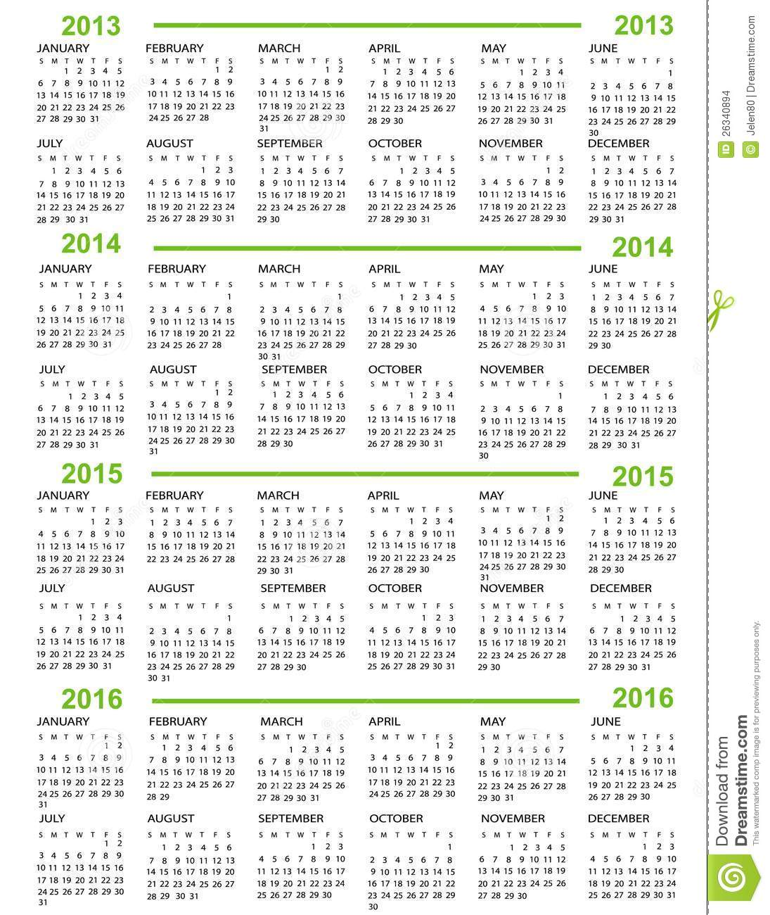 Calendar New Year 2013 2014 2015 2016 with green lines.