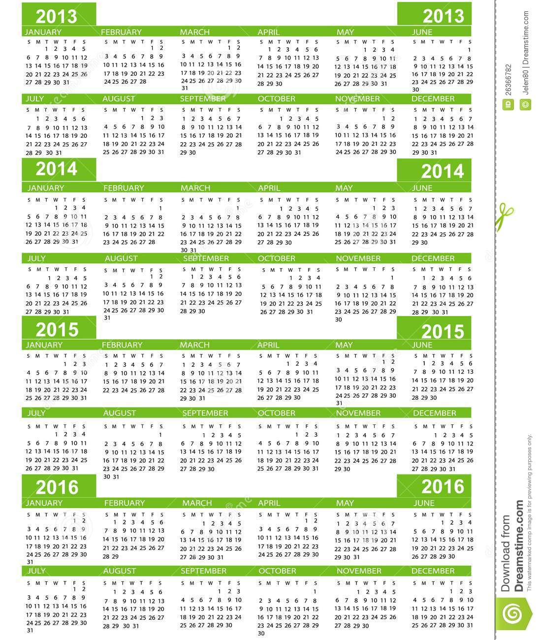 Calendar for New Year 2013 2014 2015 2016 with green lines.