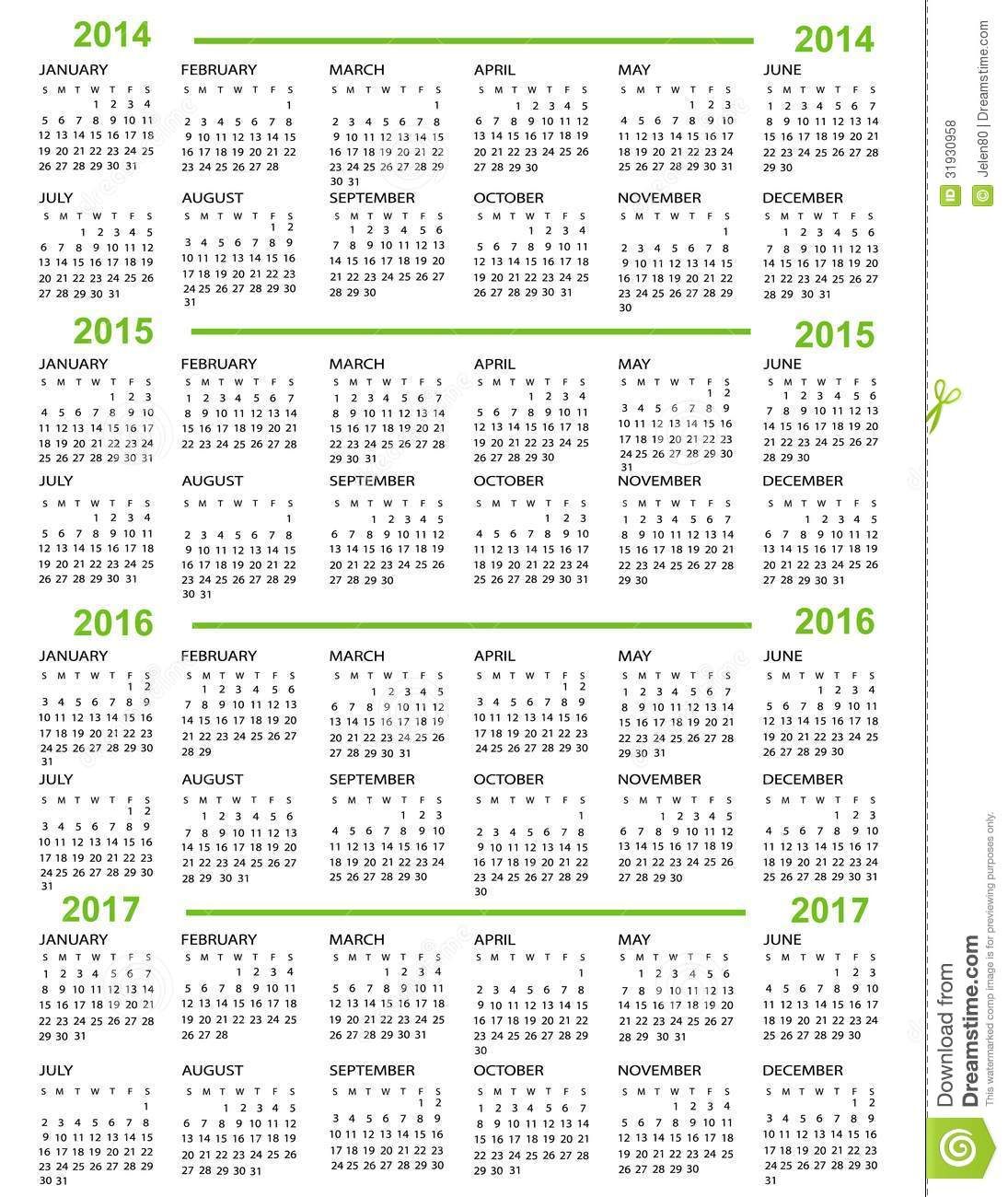 Calendar Green : Calendar new year stock vector image