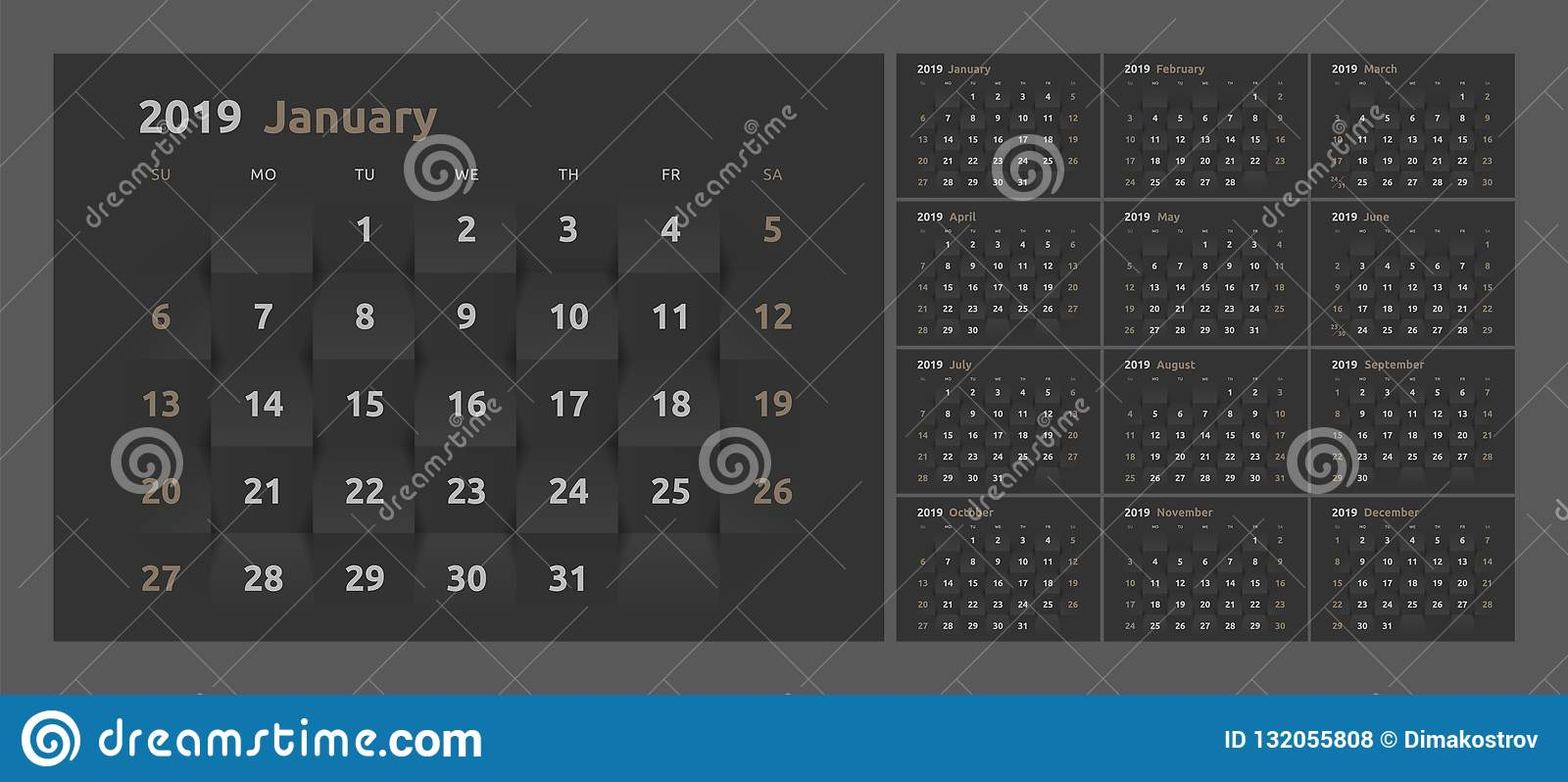 the calendar for the 2019 new year printable 3d paper