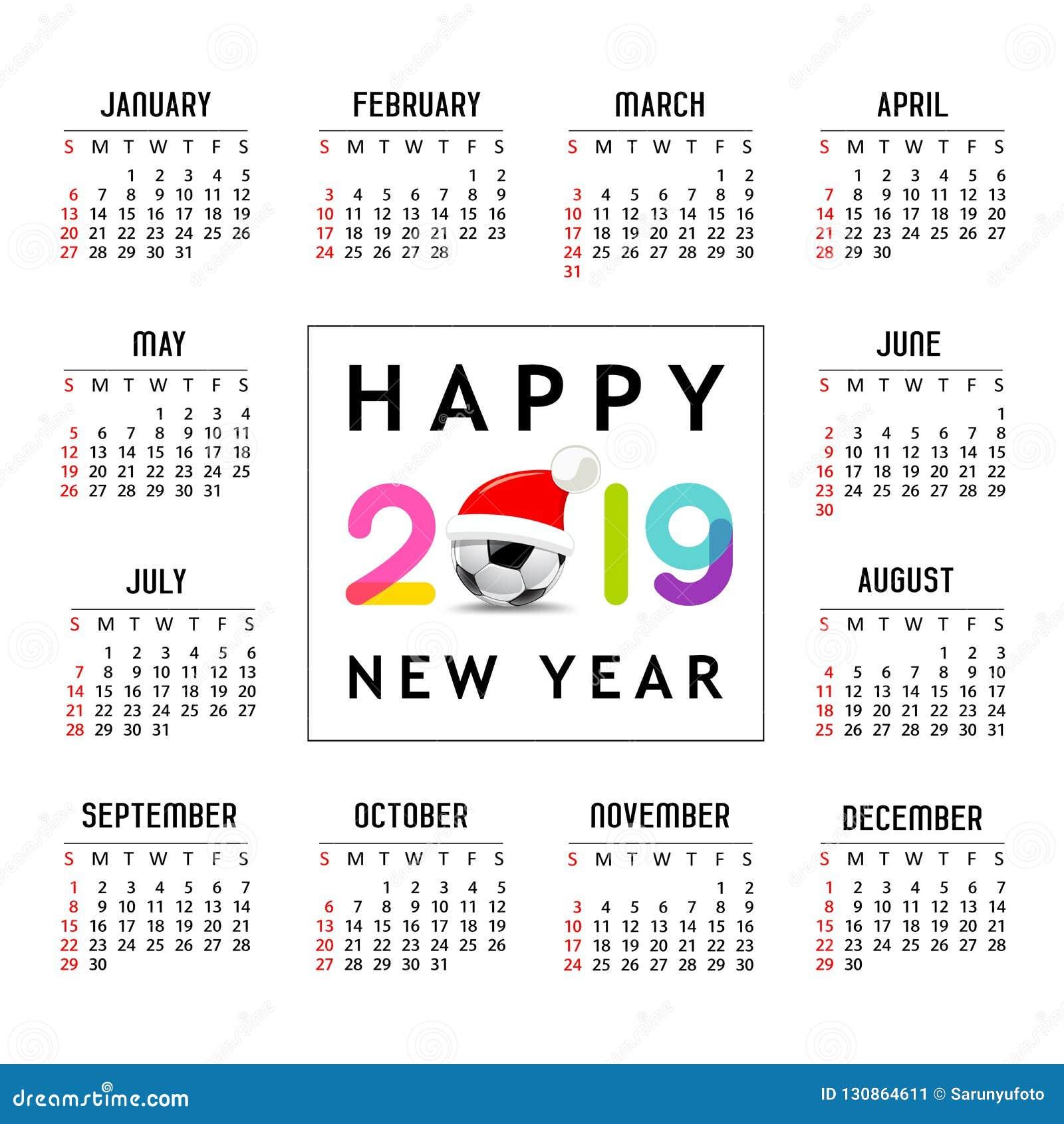 Calendar New Year 2019 Santa Hat On Soccer Ball Template Design