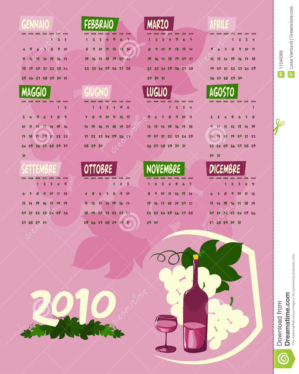 Next Year Calendar : Calendar of next year with grapes and wine royalty free