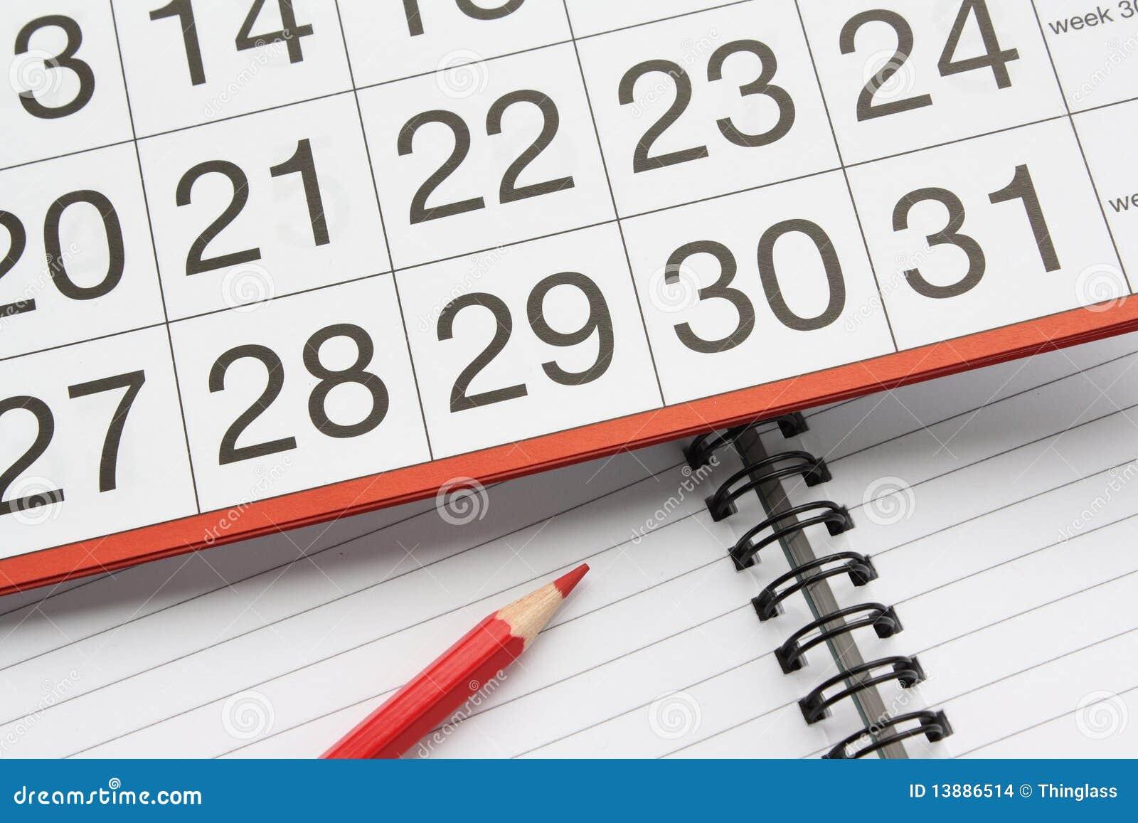 Calendar and notebook