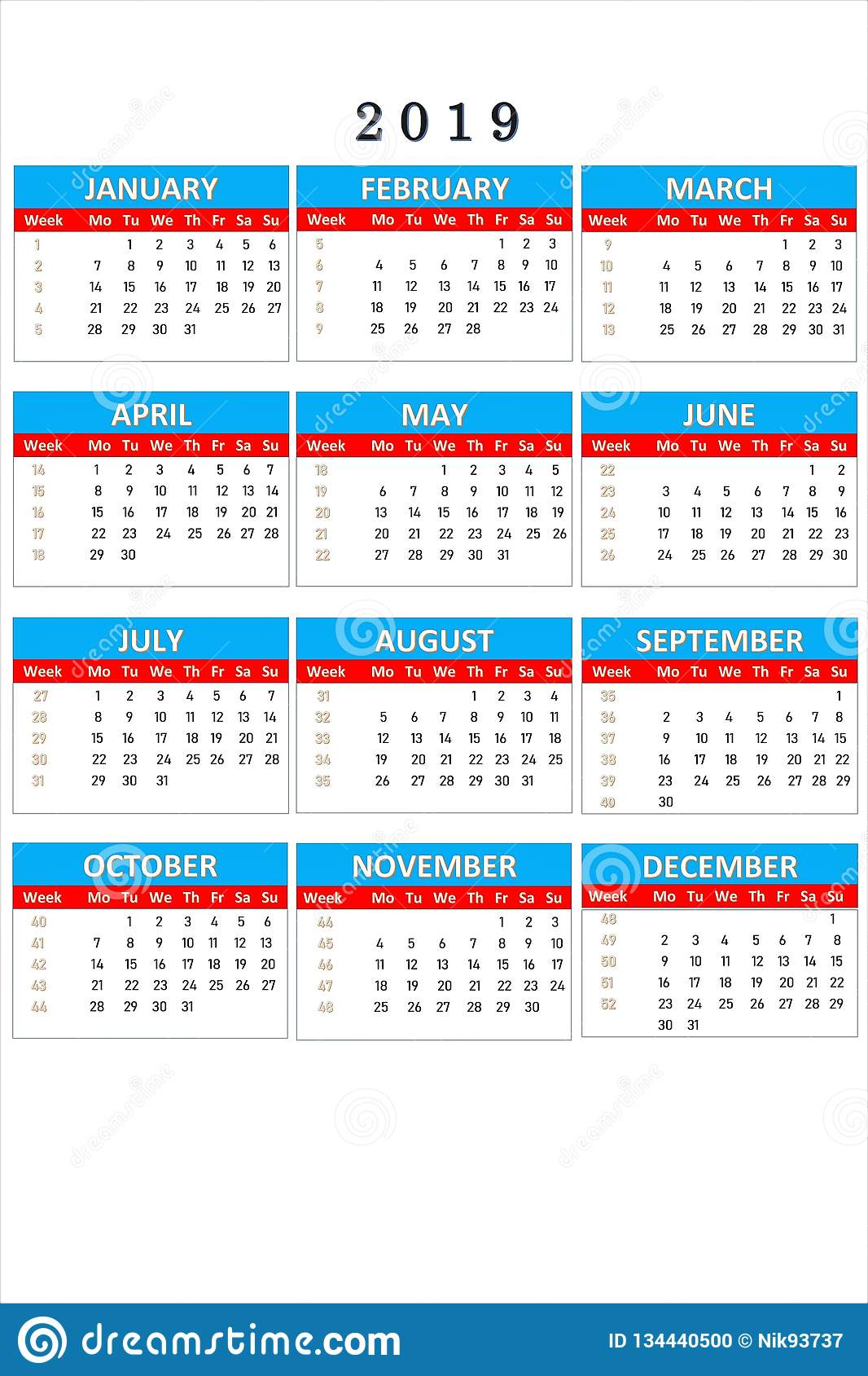 Work Calendar 2019 Calendar For 2019 For Notes And Office Work. Calendar Is Your