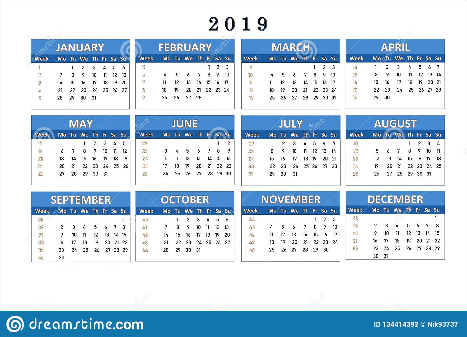 Calendars That Work 2019 Calendar For 2019 For Notes And Office Work. Stock Illustration