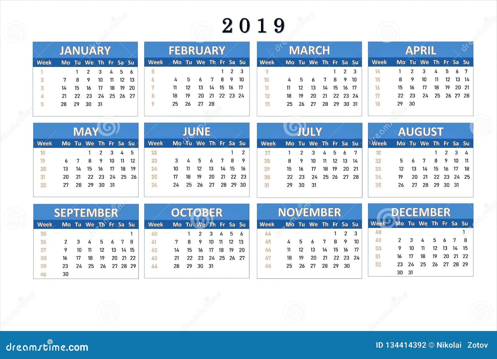 Work Calendar 2019 Calendar For 2019 For Notes And Office Work. Stock Illustration