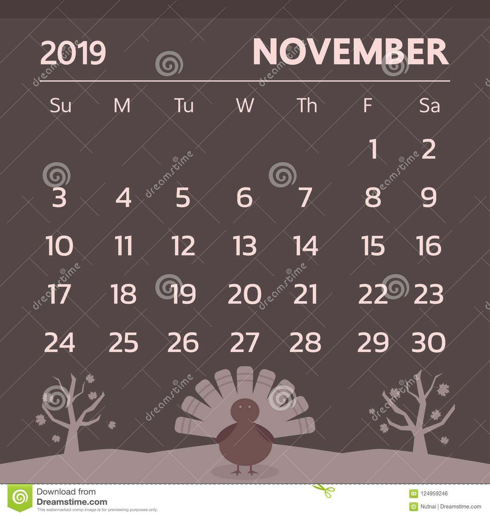 2019 Thanksgiving Calendar Calendar For November 2019 With Thanksgiving Theme   Vector Stock