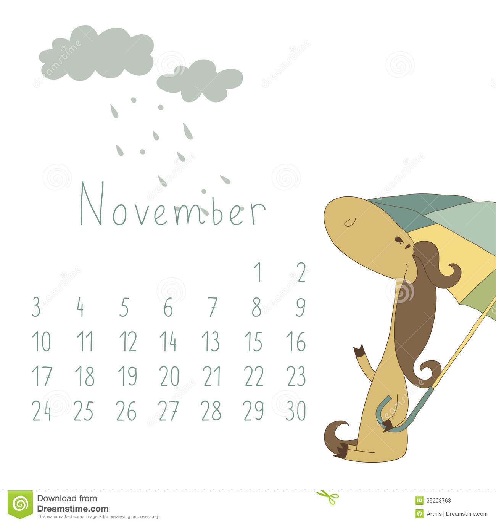 Calendar For November 2014 Year Of The Horse Stock