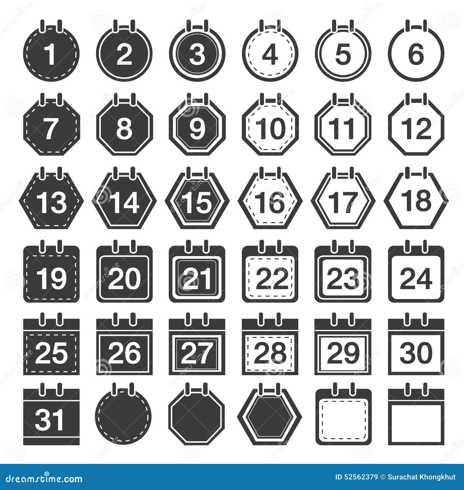 Calendar Number Icon Set, Calendar Number Vector.