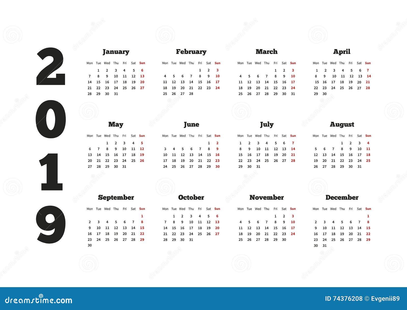 Calendar 2019 o ano com a semana que parte de segunda-feira, folha A4