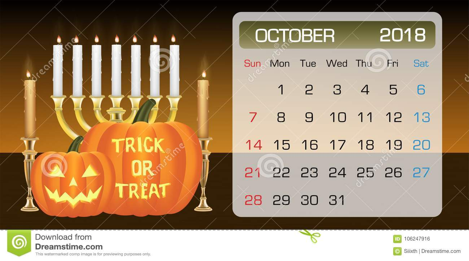 calendar of october 2018 month theme halloween