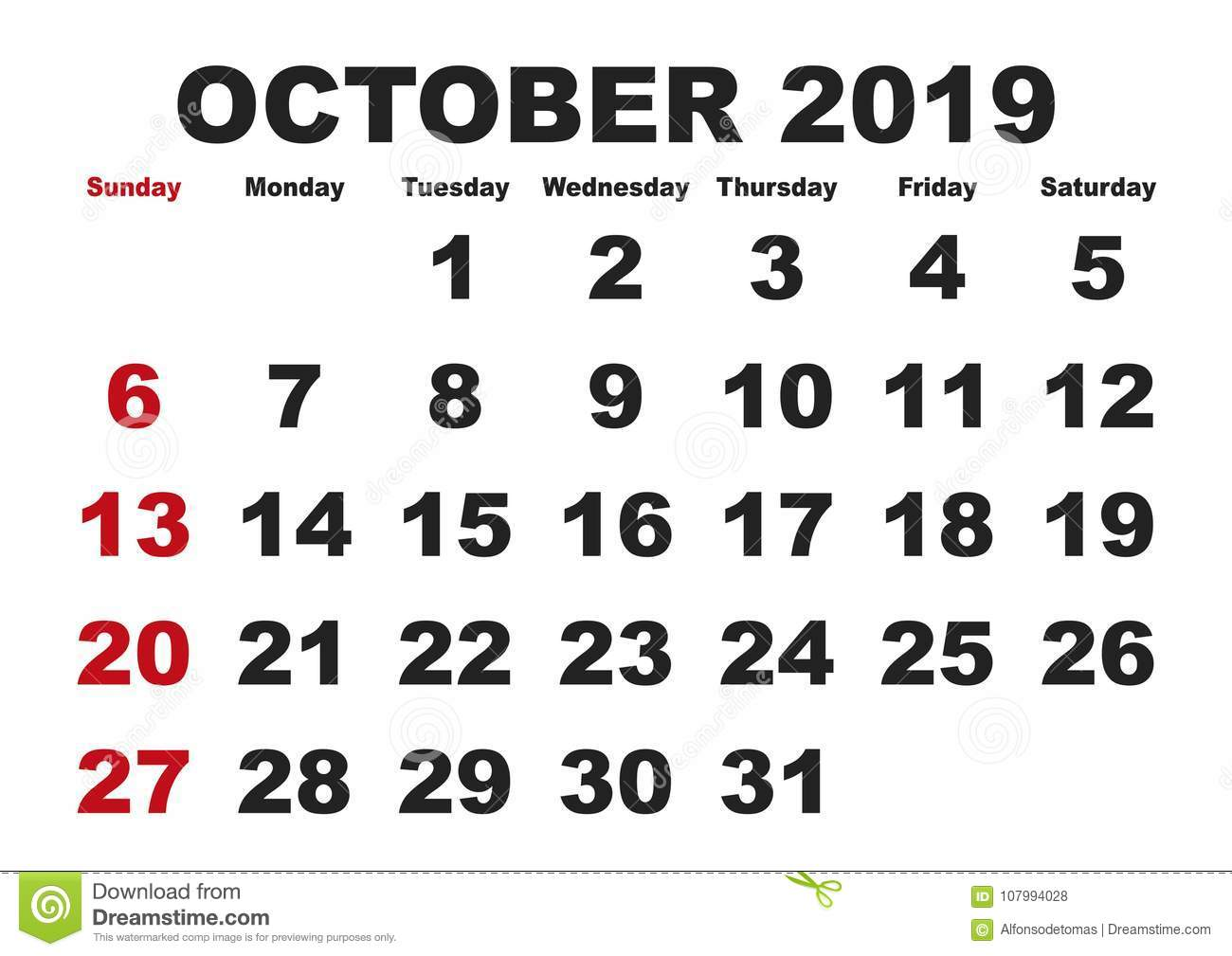 Oct 21 2019 Calendar October Month Calendar 2019 English USA Stock Vector
