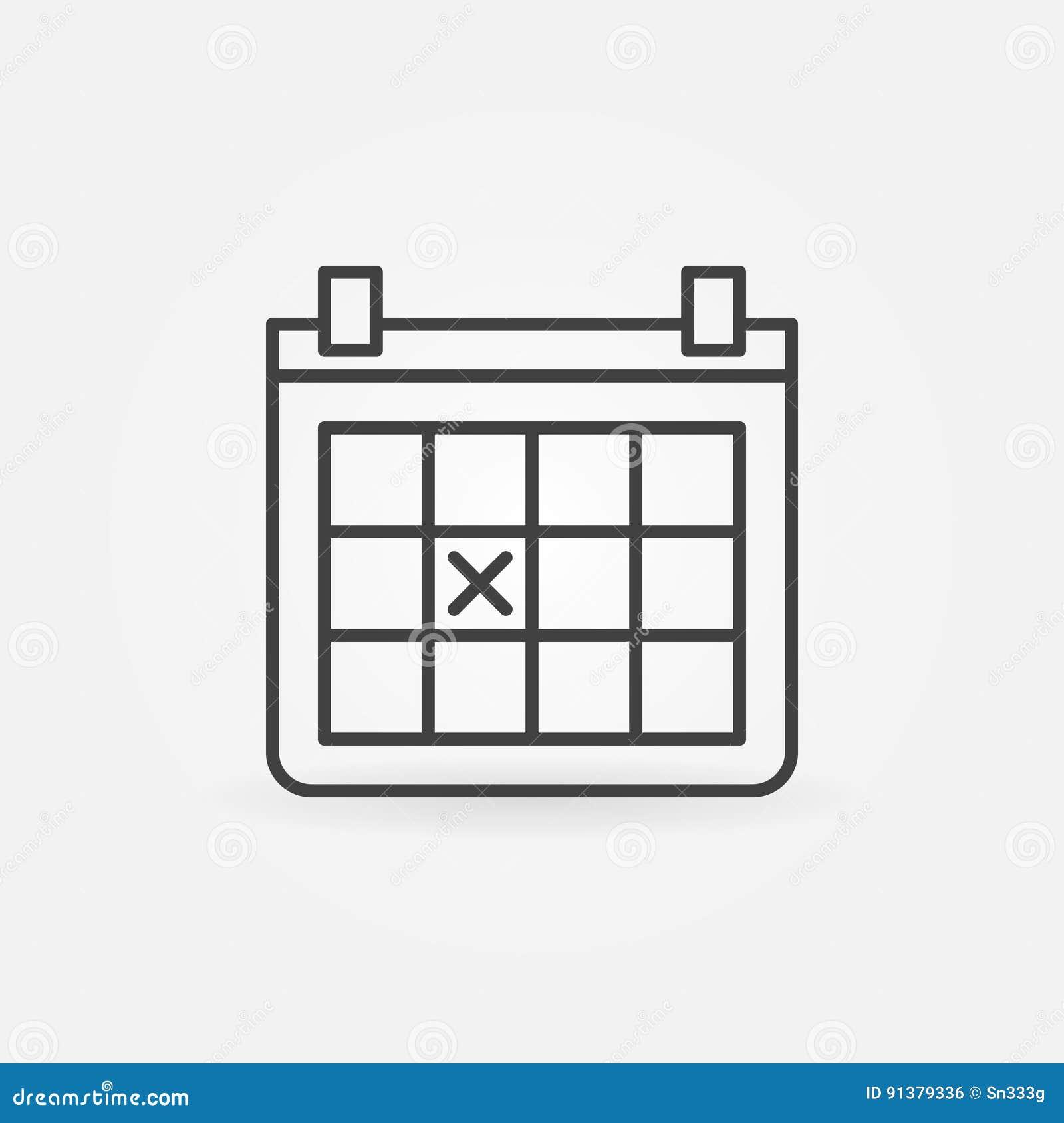 Calendar Outline Icon Stock Vector - Image: 91379336
