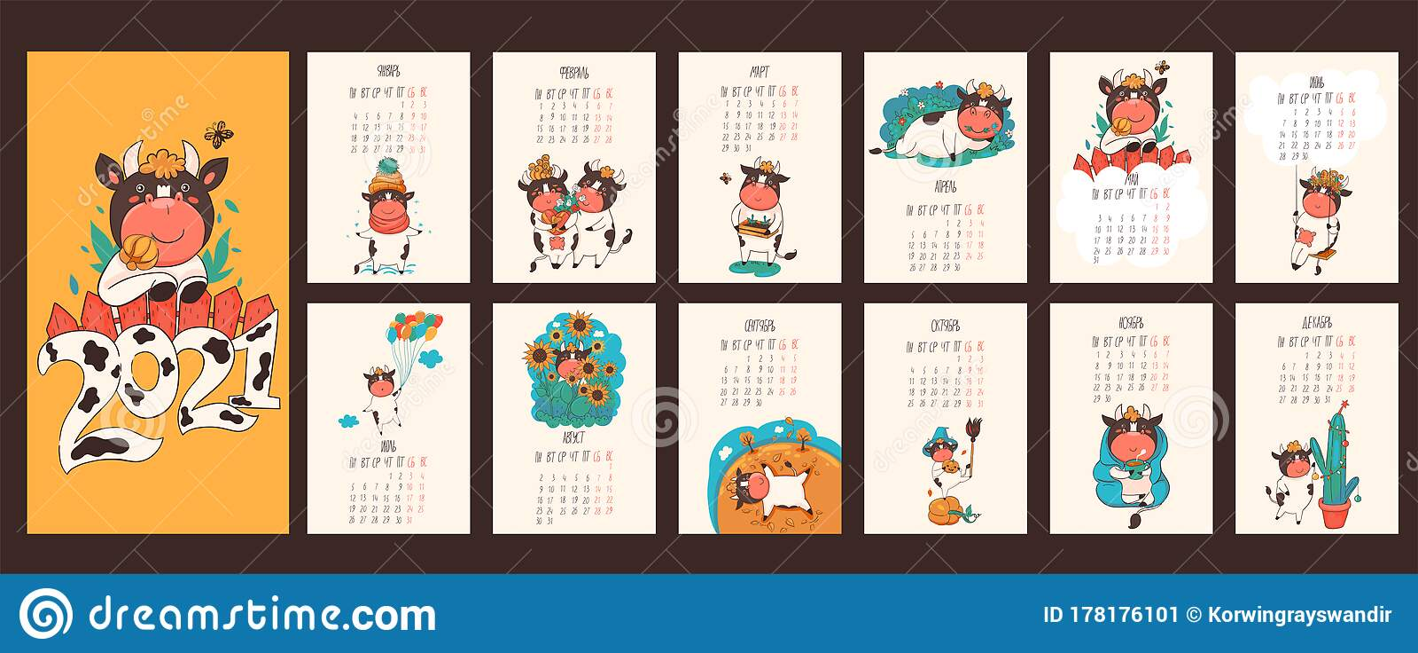 Russian Christmas Calendar 2021 Calendar 2021 Of The Ox In Russian Days Of The Week And Months In Russian Vector Graphics Stock Illustration Illustration Of Chinese Christmas 178176101