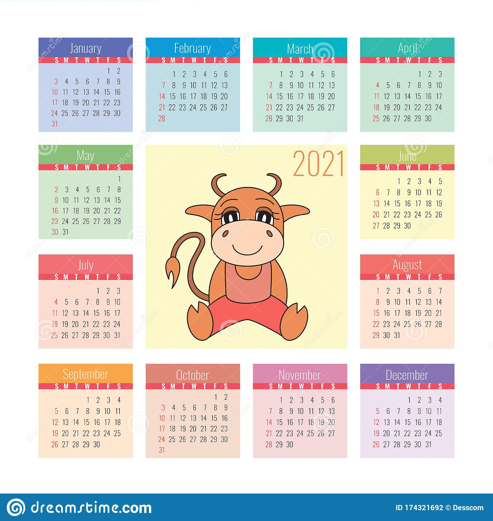 calendar 2021 ox symbol of the new year vector design template chinese horoscope colorful english square pocket calender week stock vector illustration of planning bull 174321692 https www dreamstime com calendar ox symbol new year vector design template chinese horoscope colorful english square pocket calender week calendar image174321692