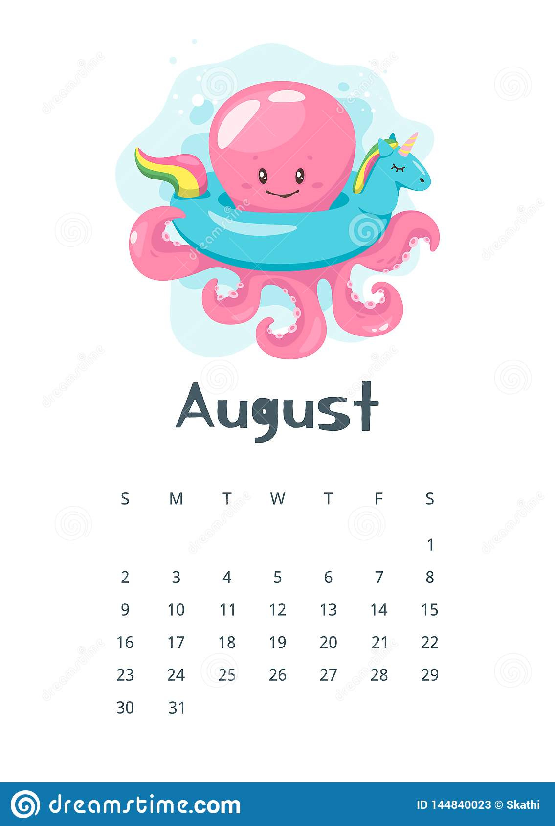 Oc Calendar 2020 2020 calendar page. stock vector. Illustration of octopus   144840023