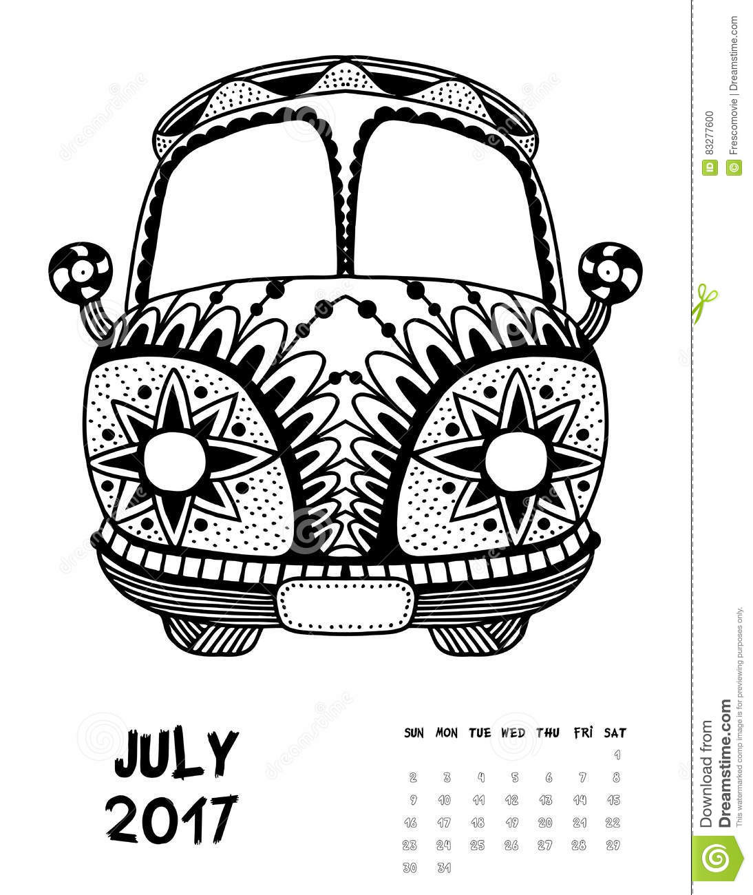 2017 calendar page of month vector illustration