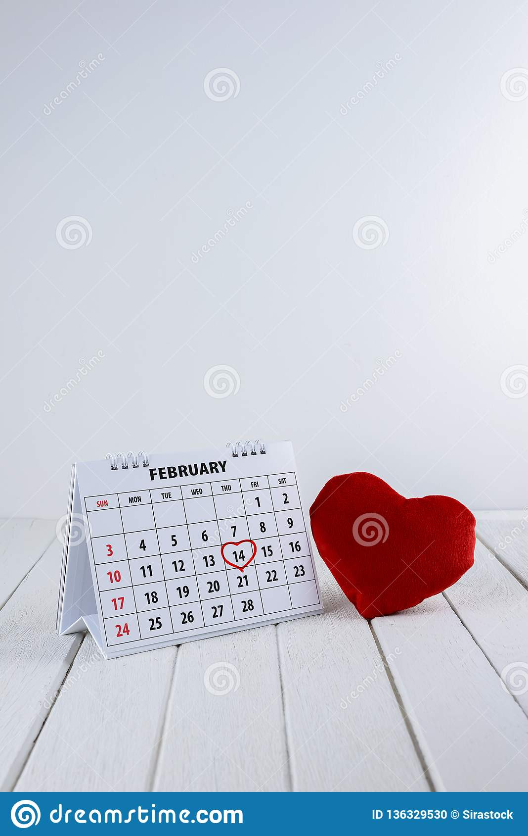 5d0a95042a43 Calendar Page With A Red Hand Written Heart Highlight On February 14 ...