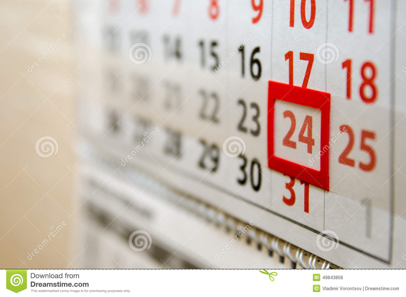 Today's date calendar in Perth