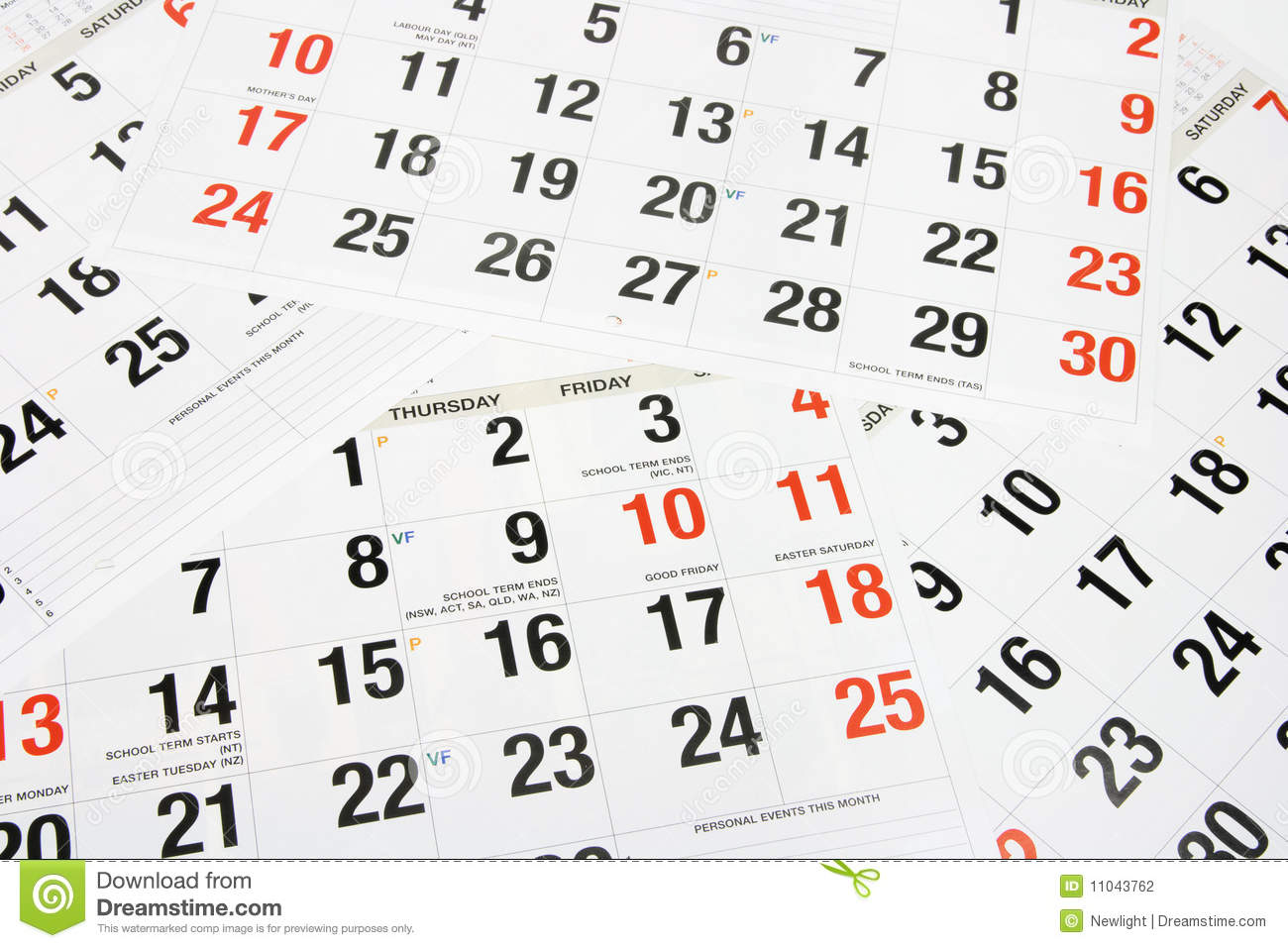 Calendar Pages Stock Photography - Image: 11043762