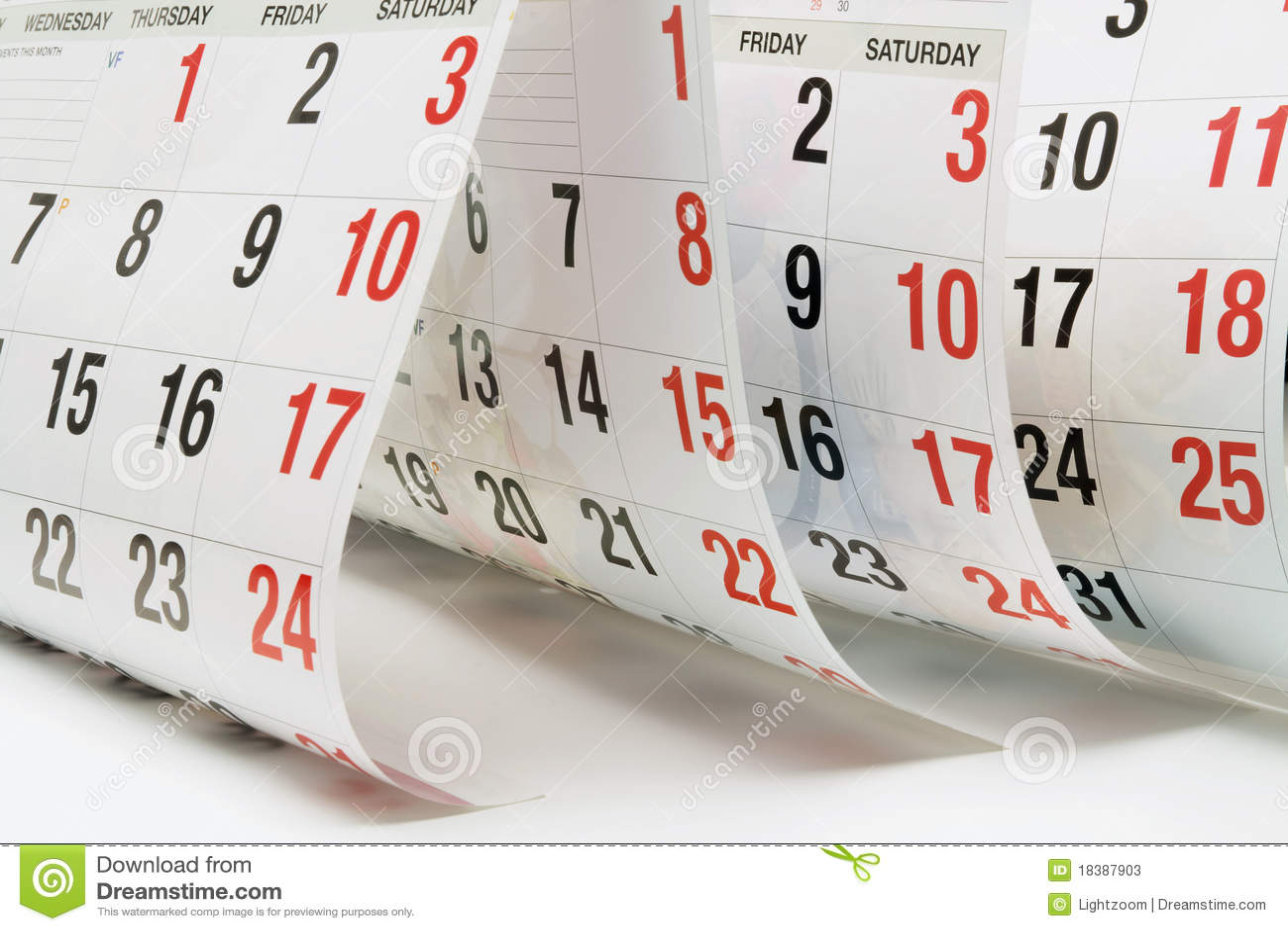Calendar Pages Stock Photos - Image: 18387903