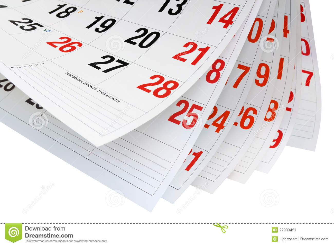 Calendar Pages Stock Image - Image: 22939421