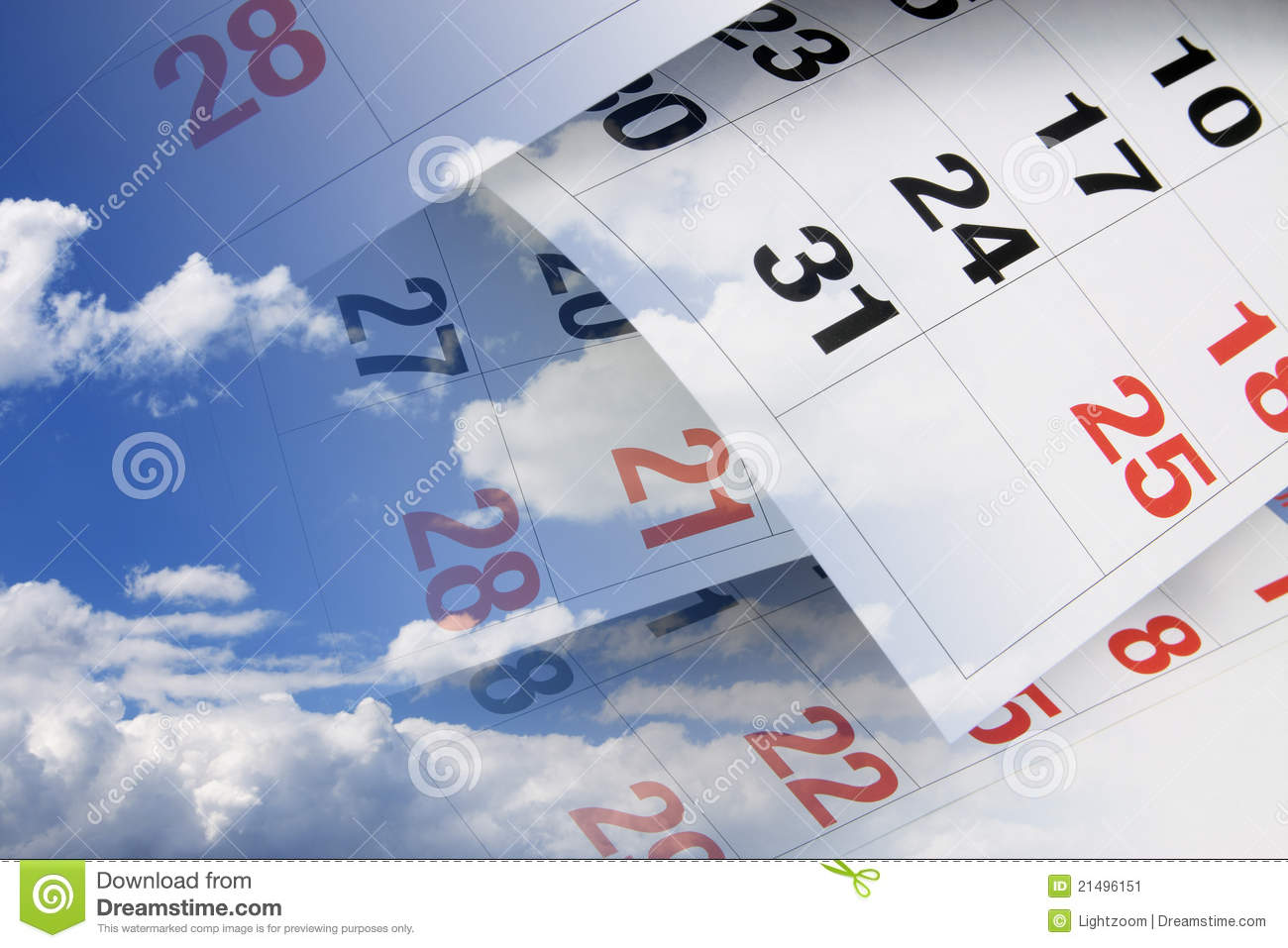 Calendar Pages and Clouds