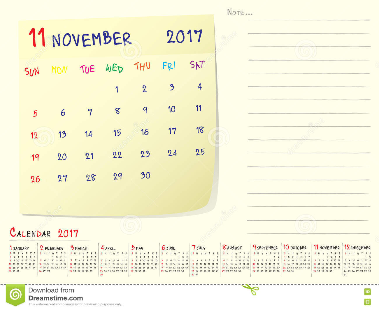 November Calendar Design : Calendar paper note november stock vector image