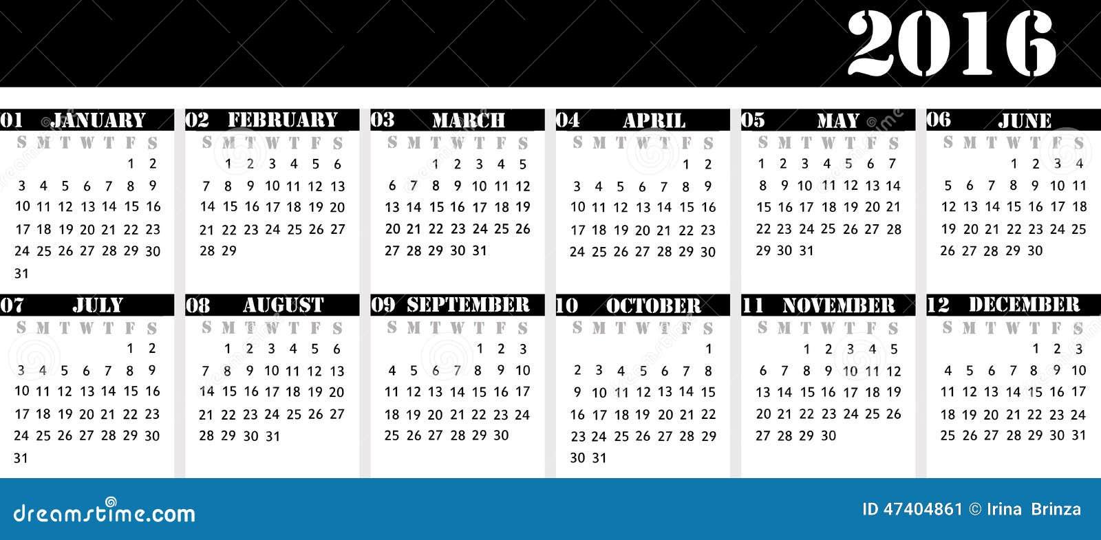 Ilustração Stock: Calendar pelo ano 2016 para o calendário de mesa ...