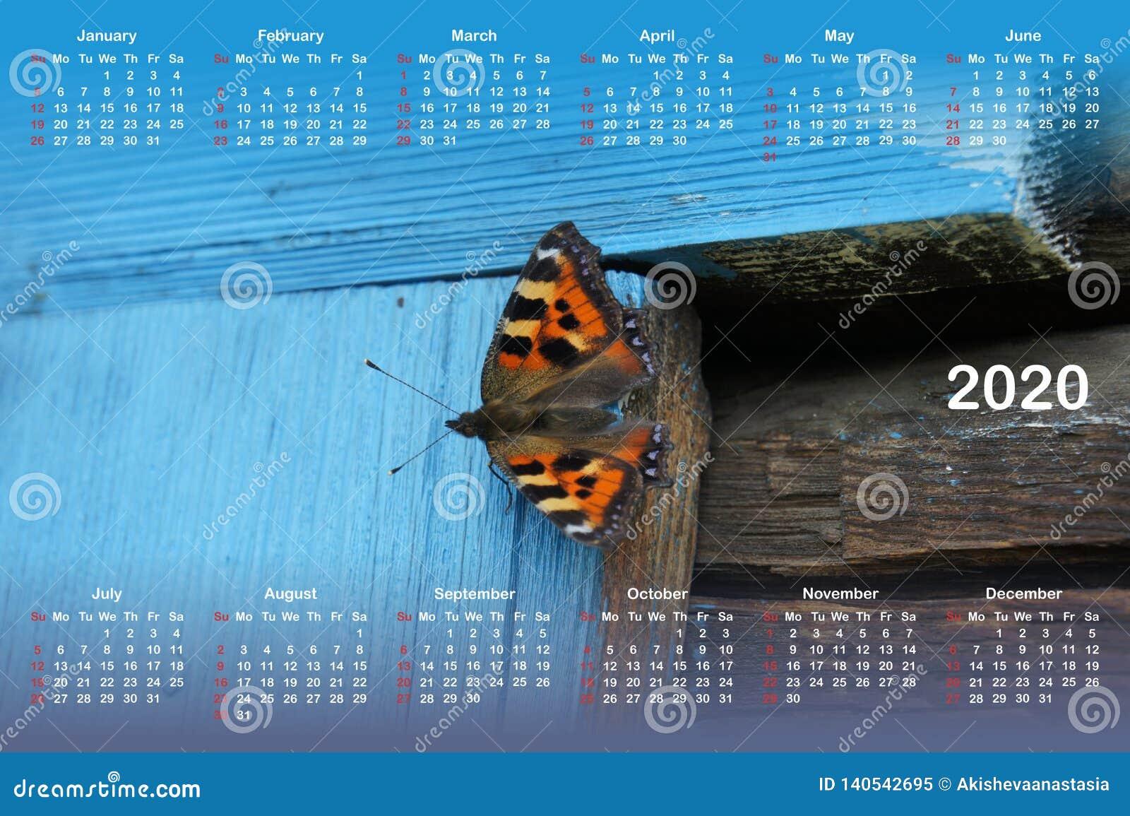 Calendar for 2020.